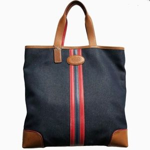 Coach Denim Stripe Tote #6865 Shopper Bag